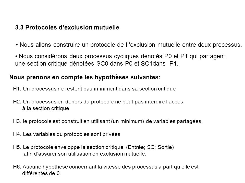 3.3 Protocoles d'exclusion mutuelle
