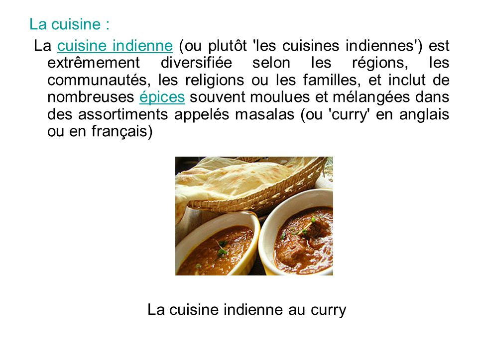 La cuisine indienne au curry