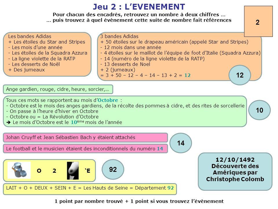 Jeu 2 : L'EVENEMENT 2. Pour chacun des encadrés, retrouvez un nombre à deux chiffres …