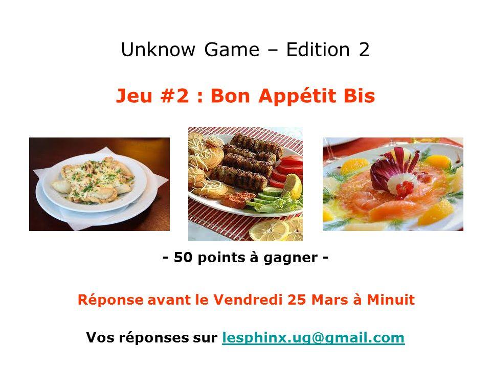 Unknow Game – Edition 2 Jeu #2 : Bon Appétit Bis