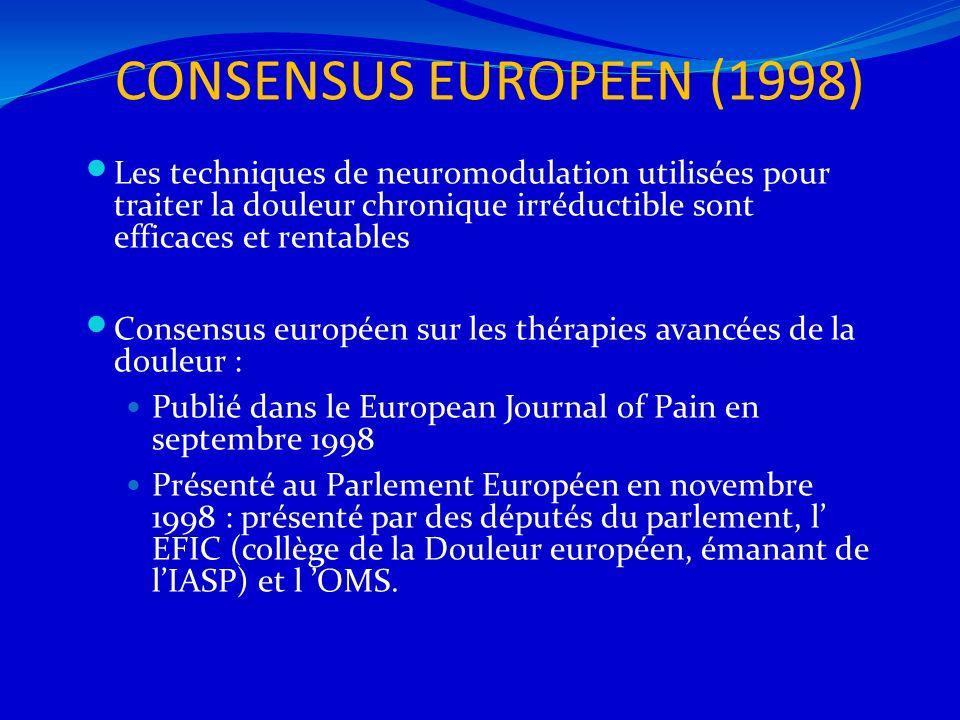 CONSENSUS EUROPEEN (1998) Les techniques de neuromodulation utilisées pour traiter la douleur chronique irréductible sont efficaces et rentables.