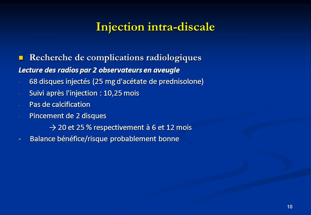 Injection intra-discale