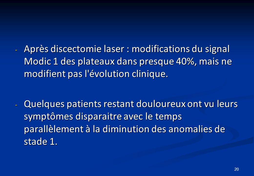 Après discectomie laser : modifications du signal Modic 1 des plateaux dans presque 40%, mais ne modifient pas l évolution clinique.