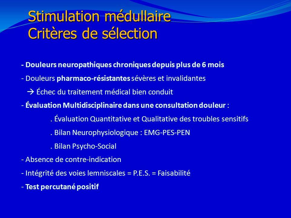 Stimulation médullaire Critères de sélection