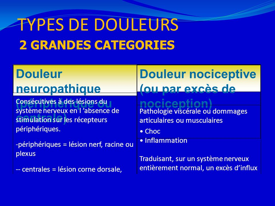TYPES DE DOULEURS 2 GRANDES CATEGORIES