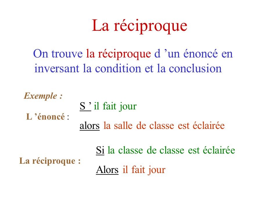 La réciproque On trouve la réciproque d 'un énoncé en inversant la condition et la conclusion. Exemple :