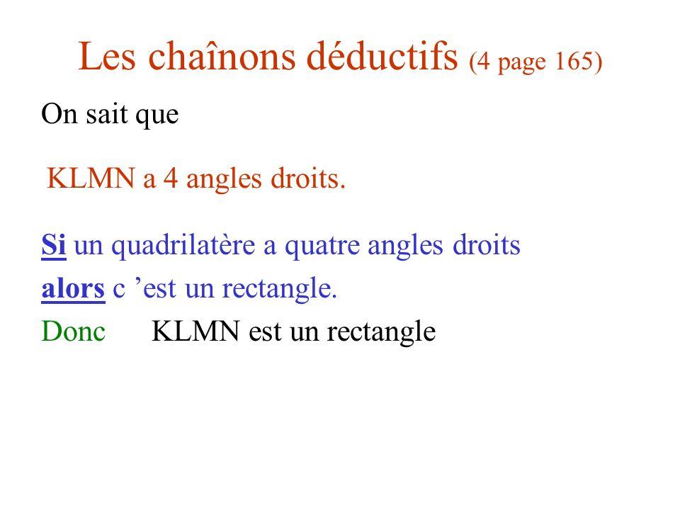 Les chaînons déductifs (4 page 165)