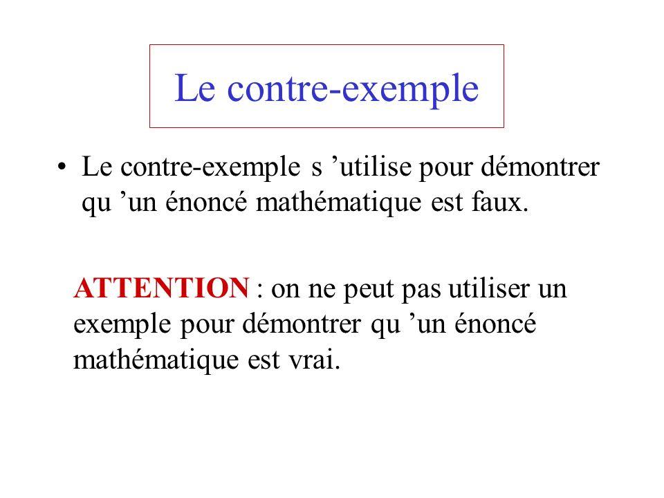 Le contre-exemple Le contre-exemple s 'utilise pour démontrer qu 'un énoncé mathématique est faux.