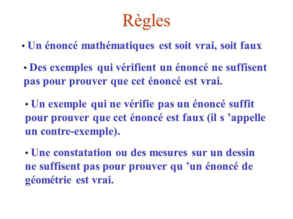 Règles Un énoncé mathématiques est soit vrai, soit faux