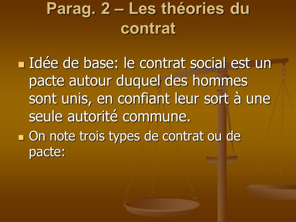 Parag. 2 – Les théories du contrat