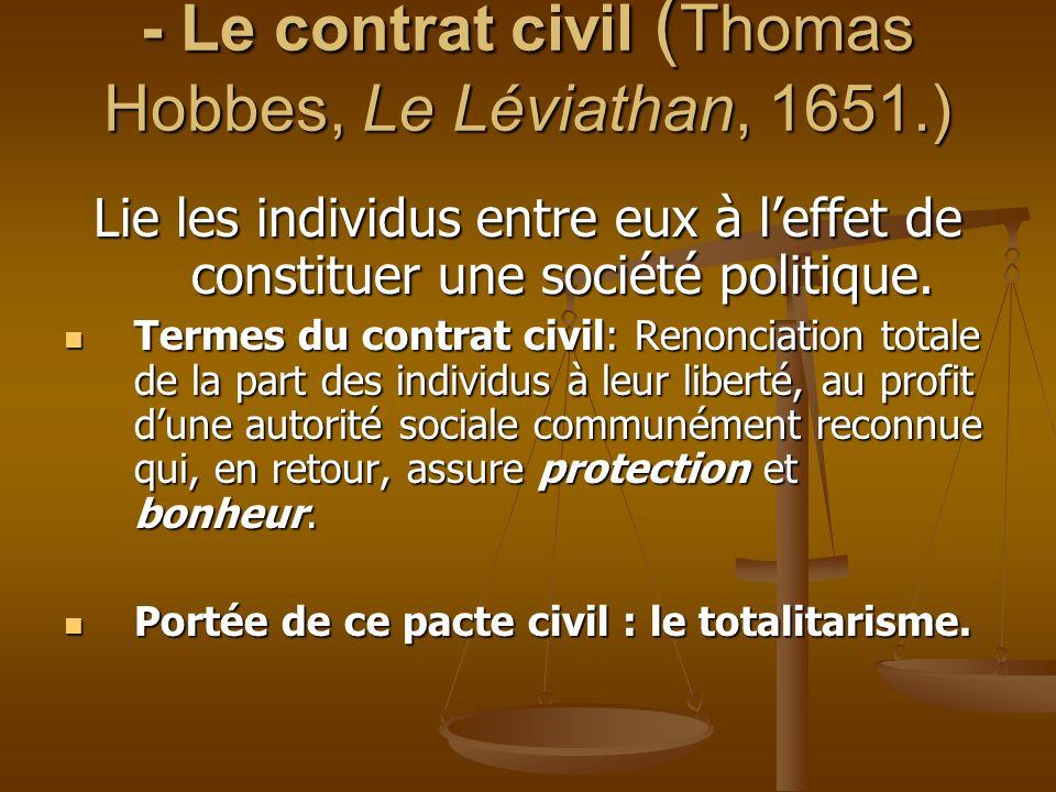 - Le contrat civil (Thomas Hobbes, Le Léviathan, 1651.)