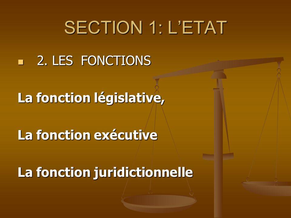 SECTION 1: L'ETAT 2. LES FONCTIONS La fonction législative,