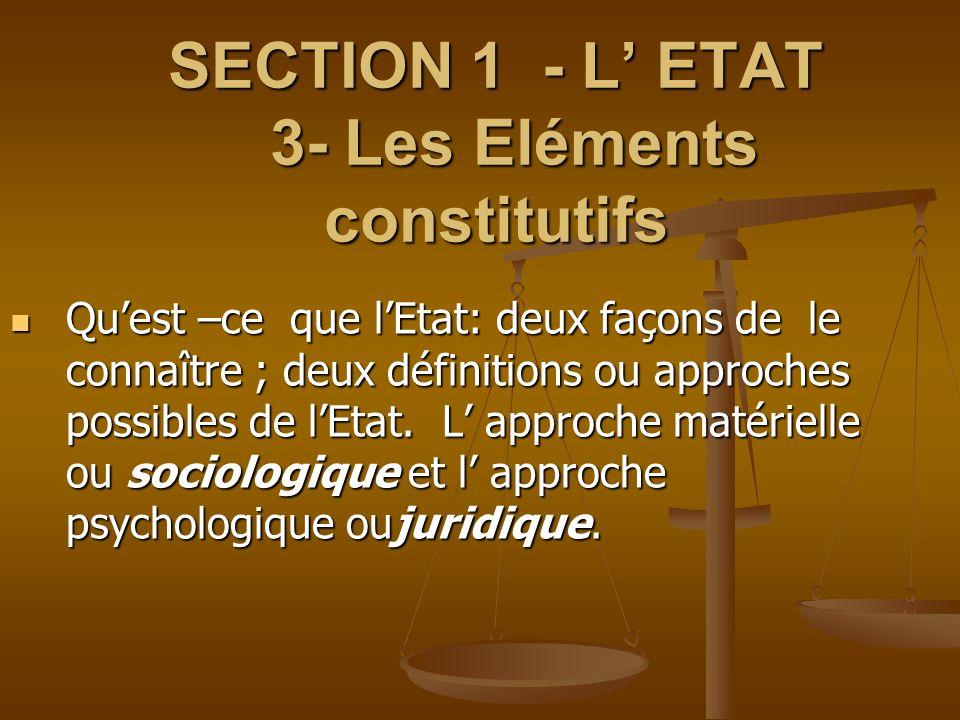 SECTION 1 - L' ETAT 3- Les Eléments constitutifs