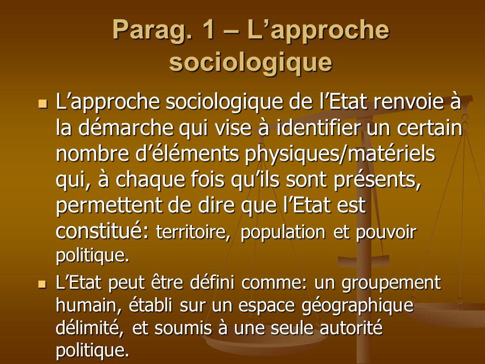 Parag. 1 – L'approche sociologique