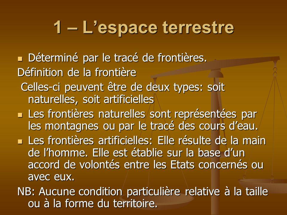 1 – L'espace terrestre Déterminé par le tracé de frontières.