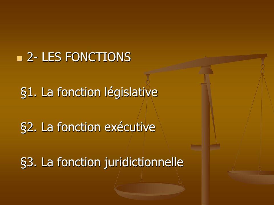 2- LES FONCTIONS§1.La fonction législative. §2. La fonction exécutive.