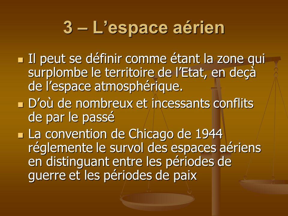 3 – L'espace aérienIl peut se définir comme étant la zone qui surplombe le territoire de l'Etat, en deçà de l'espace atmosphérique.