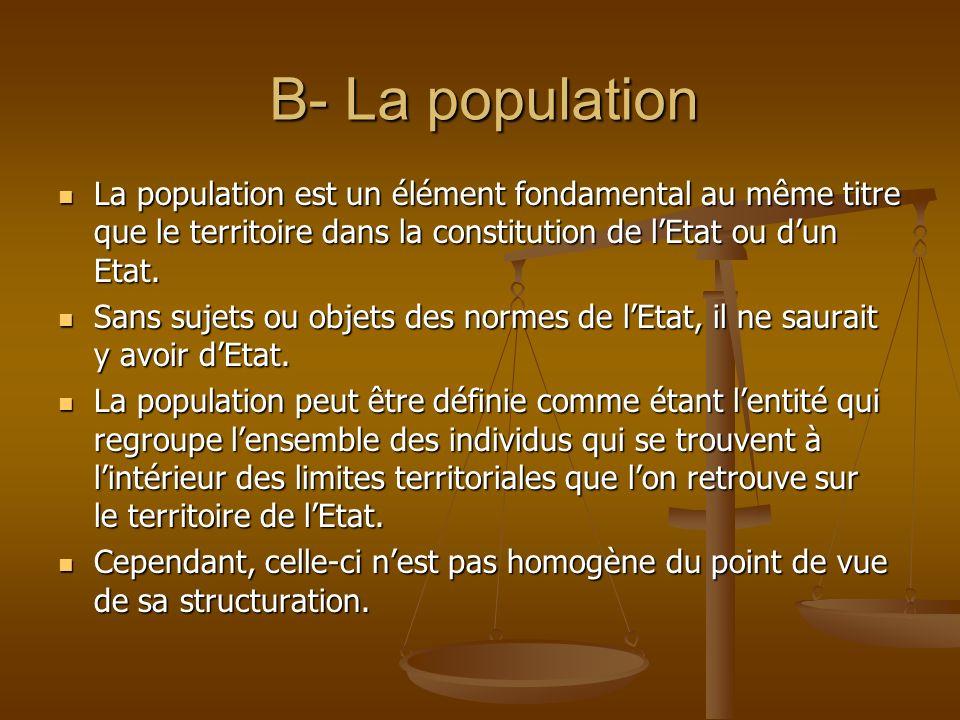 B- La populationLa population est un élément fondamental au même titre que le territoire dans la constitution de l'Etat ou d'un Etat.