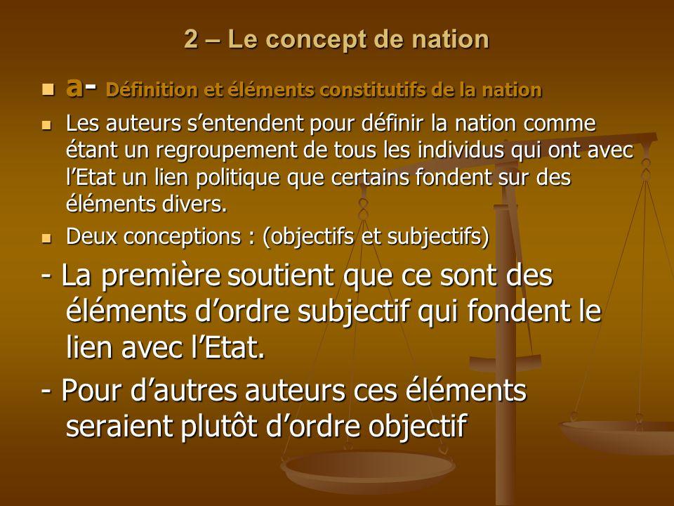 a- Définition et éléments constitutifs de la nation