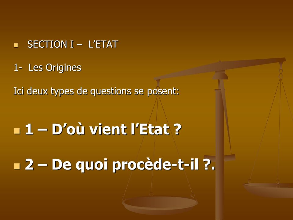 1 – D'où vient l'Etat 2 – De quoi procède-t-il . SECTION I – L'ETAT