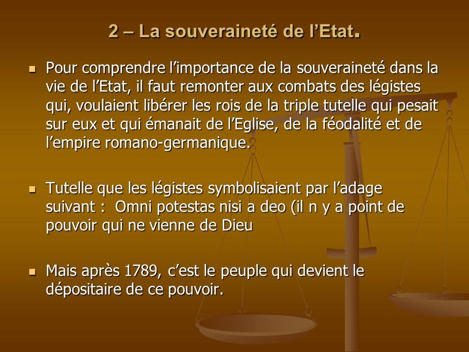 2 – La souveraineté de l'Etat.