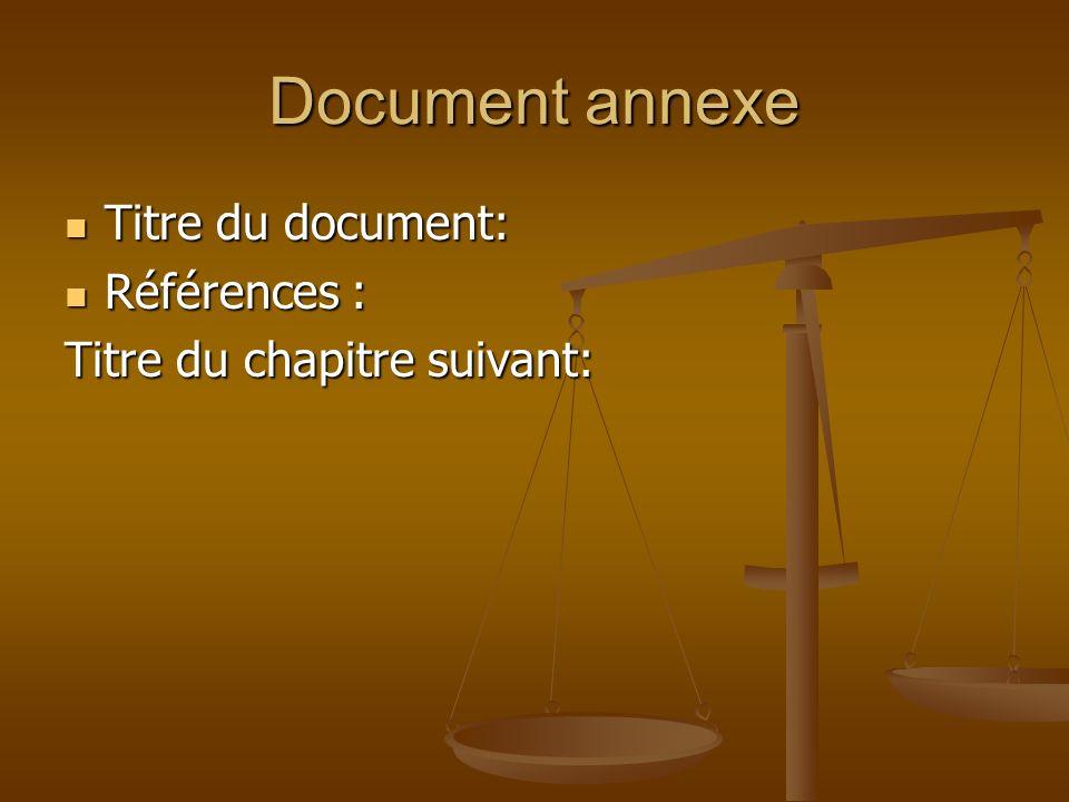 Document annexe Titre du document: Références :
