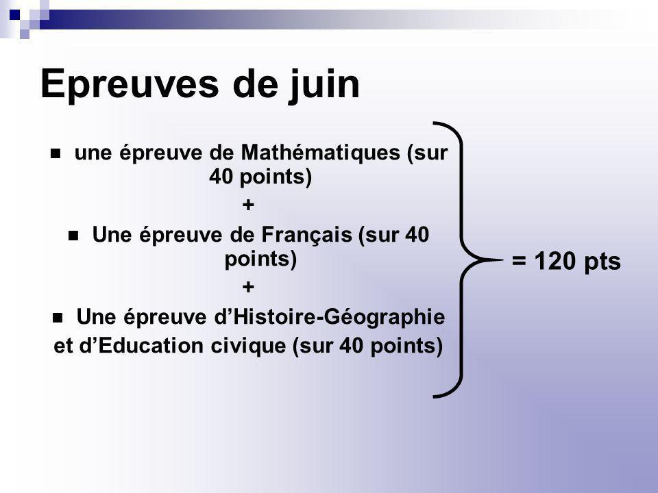 Epreuves de juin une épreuve de Mathématiques (sur 40 points) + Une épreuve de Français (sur 40 points)