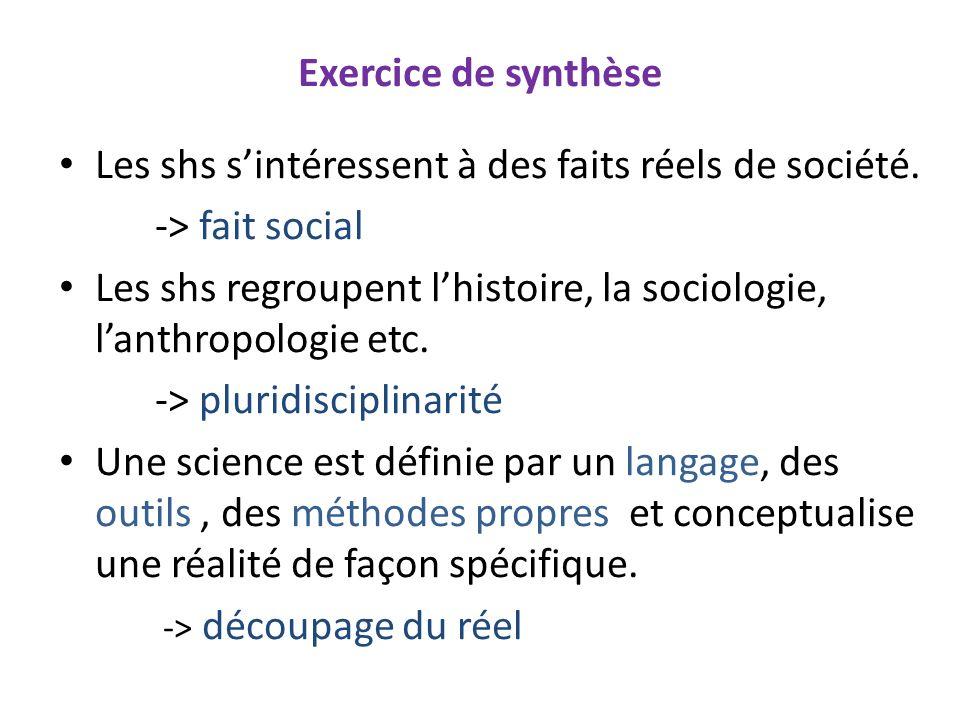 Exercice de synthèse Les shs s'intéressent à des faits réels de société. -> fait social.