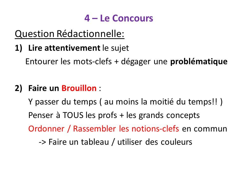 4 – Le Concours Question Rédactionnelle: Lire attentivement le sujet