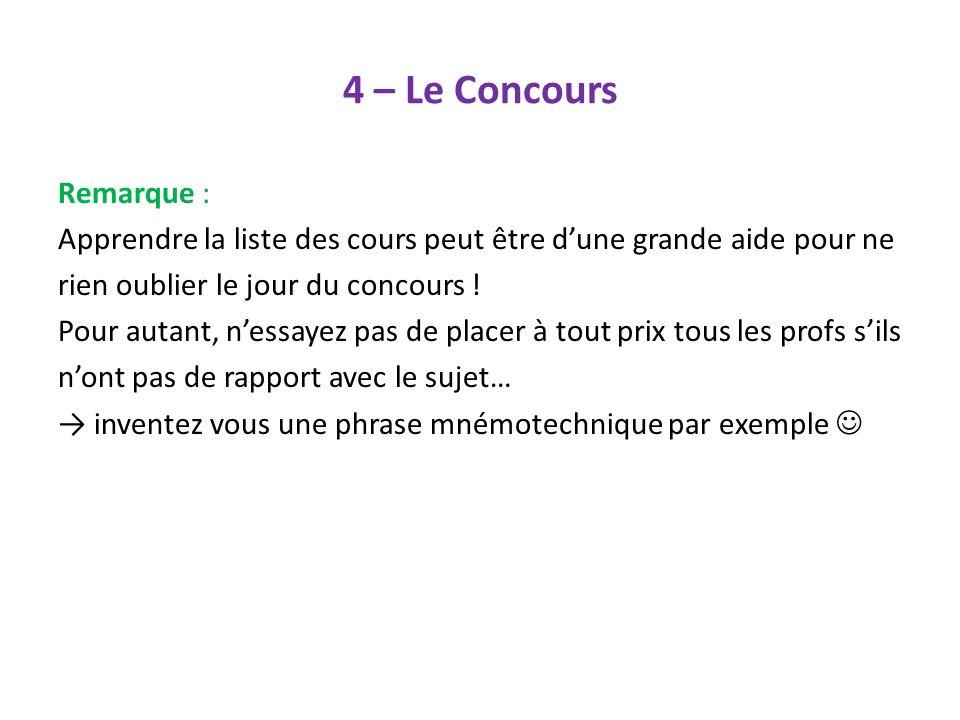 4 – Le Concours