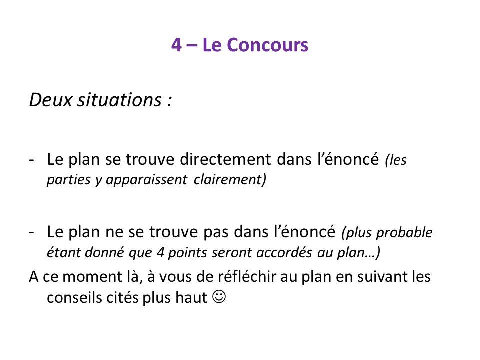 4 – Le Concours Deux situations :