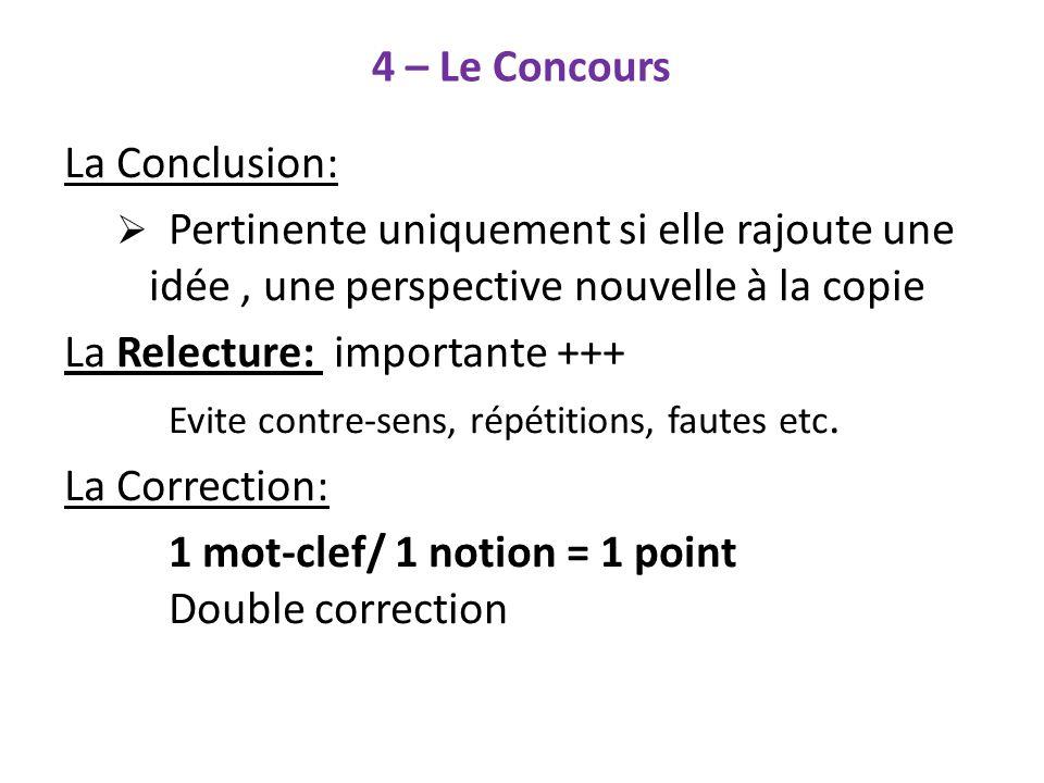 4 – Le Concours La Conclusion: La Relecture: importante +++