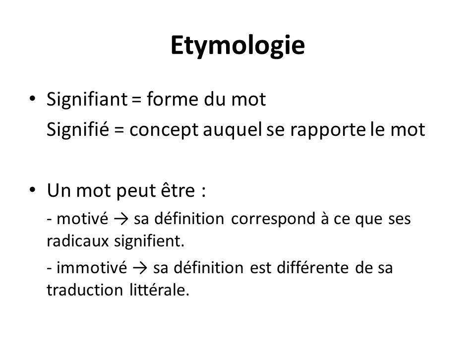 Etymologie Signifiant = forme du mot