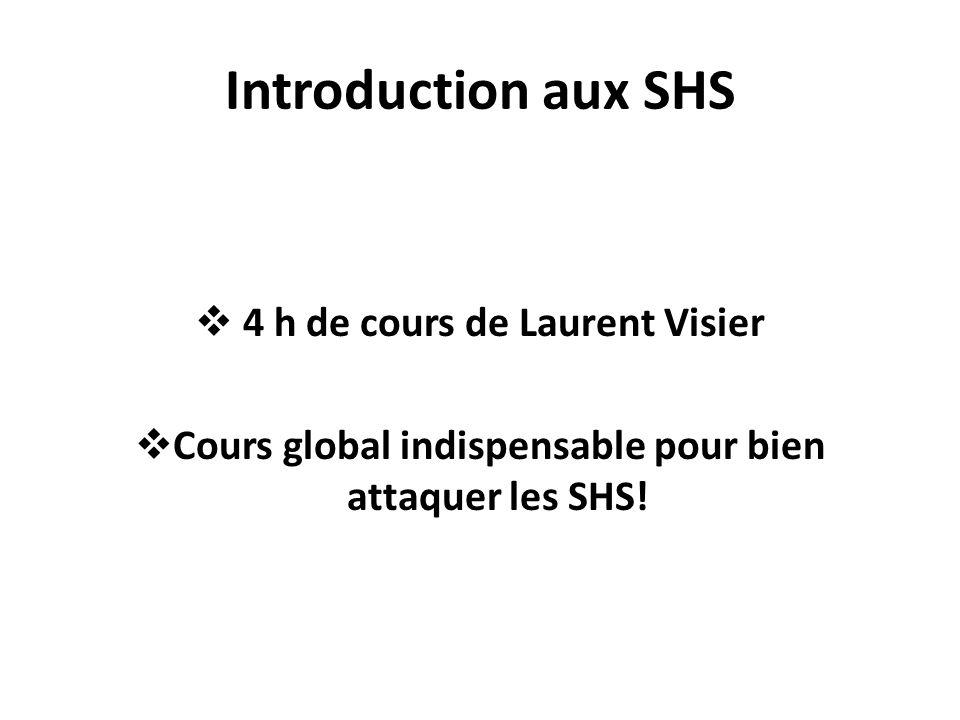 Introduction aux SHS 4 h de cours de Laurent Visier