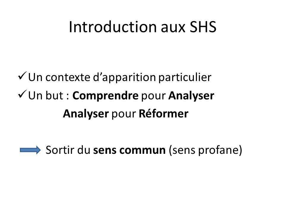 Introduction aux SHS Un contexte d'apparition particulier
