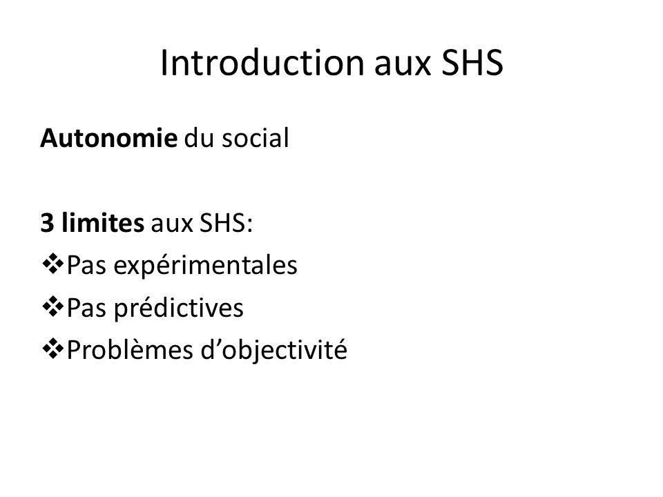 Introduction aux SHS Autonomie du social 3 limites aux SHS: