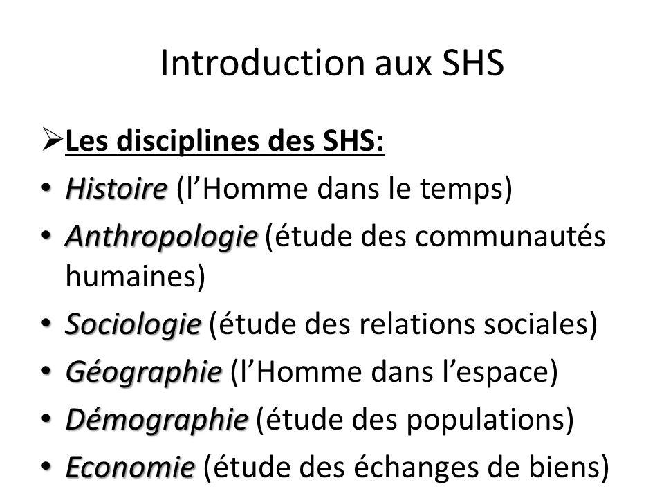 Introduction aux SHS Les disciplines des SHS: