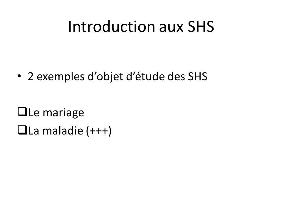 Introduction aux SHS 2 exemples d'objet d'étude des SHS Le mariage