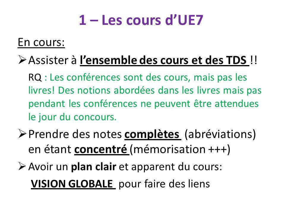 1 – Les cours d'UE7 En cours: