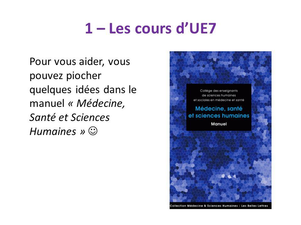 1 – Les cours d'UE7 Pour vous aider, vous pouvez piocher quelques idées dans le manuel « Médecine, Santé et Sciences Humaines » 