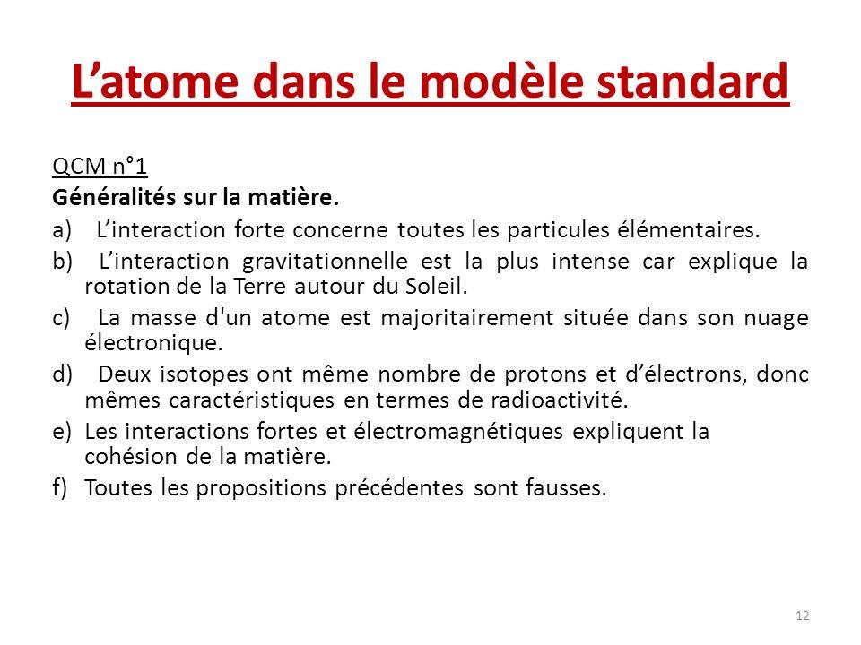 L'atome dans le modèle standard