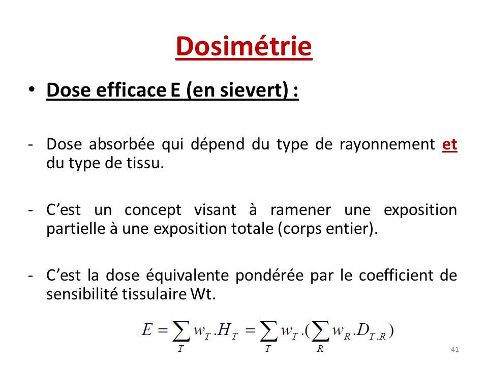 Dosimétrie Dose efficace E (en sievert) :