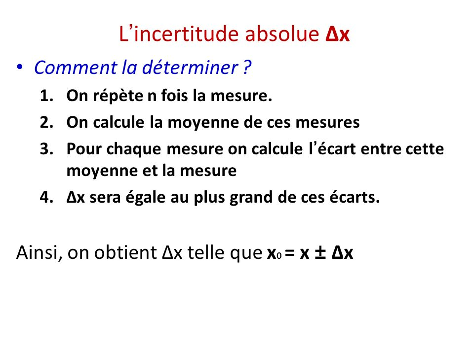 L'incertitude absolue Δx