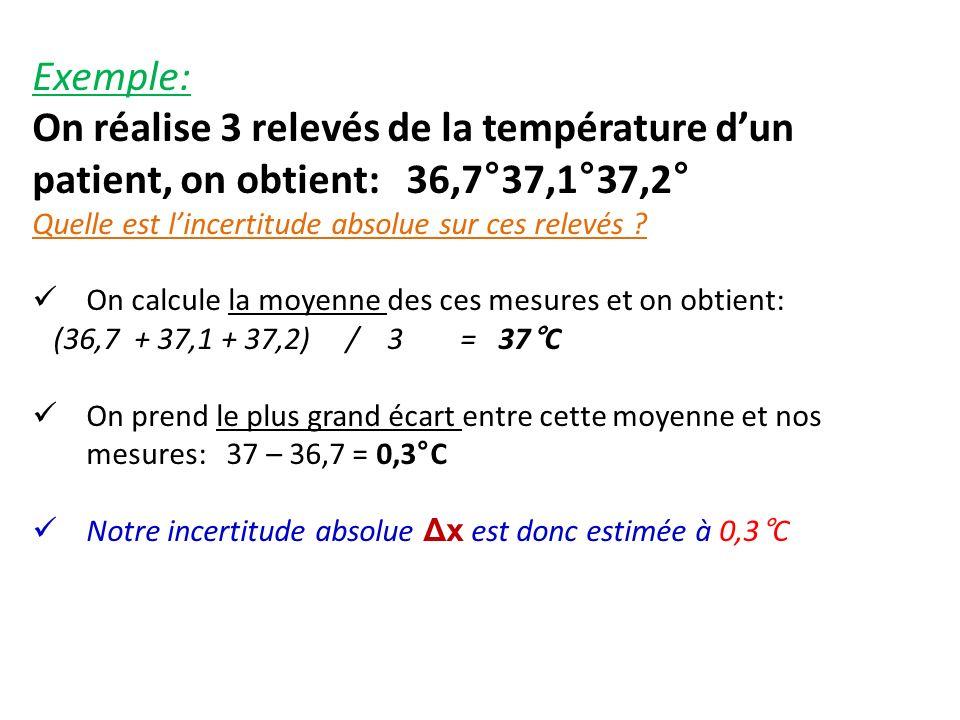Exemple: On réalise 3 relevés de la température d'un patient, on obtient: 36,7°37,1°37,2° Quelle est l'incertitude absolue sur ces relevés