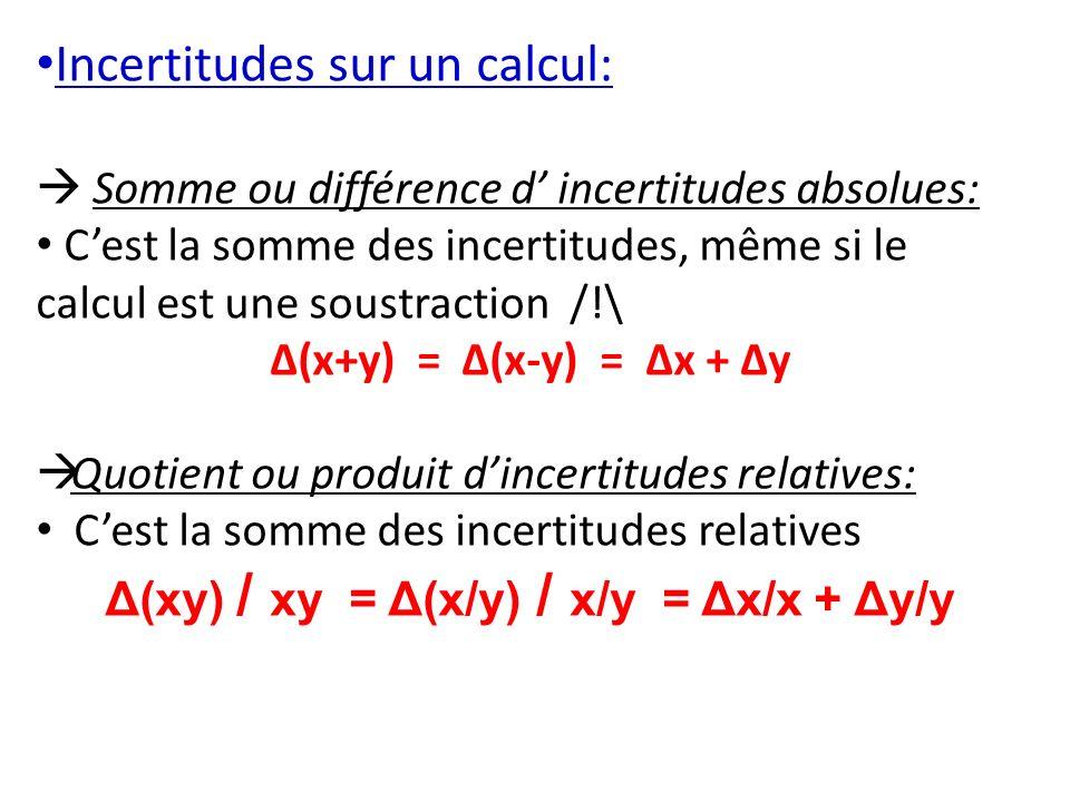 Δ(xy) / xy = Δ(x/y) / x/y = Δx/x + Δy/y
