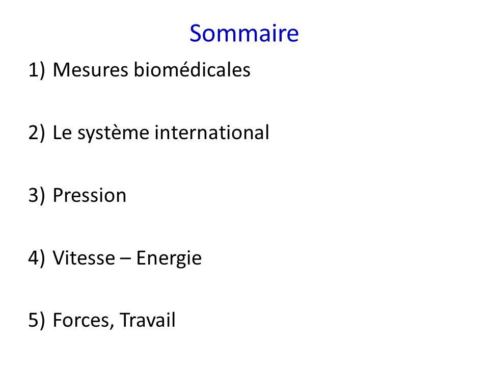 Sommaire Mesures biomédicales Le système international Pression
