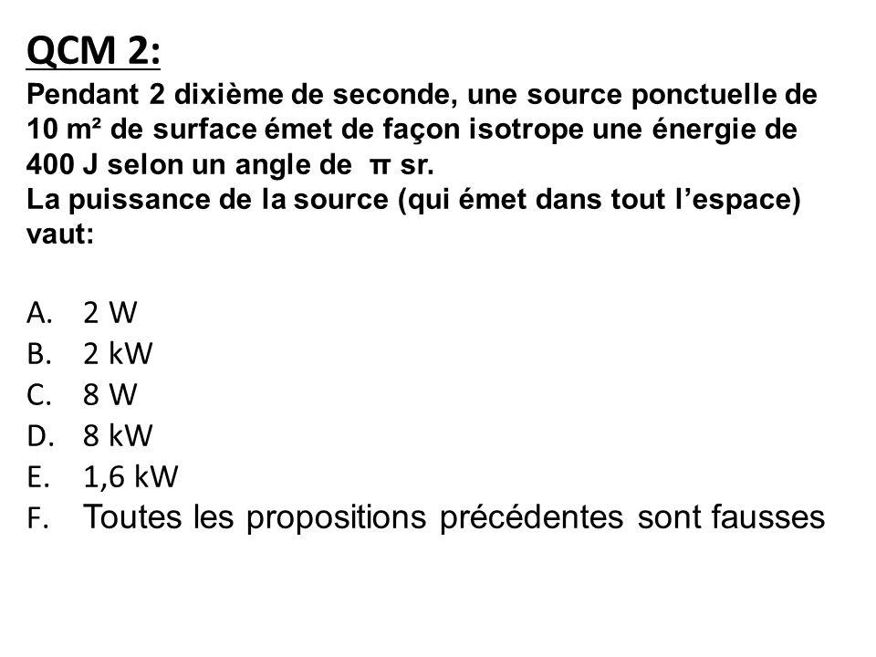 QCM 2: Pendant 2 dixième de seconde, une source ponctuelle de 10 m² de surface émet de façon isotrope une énergie de 400 J selon un angle de π sr.