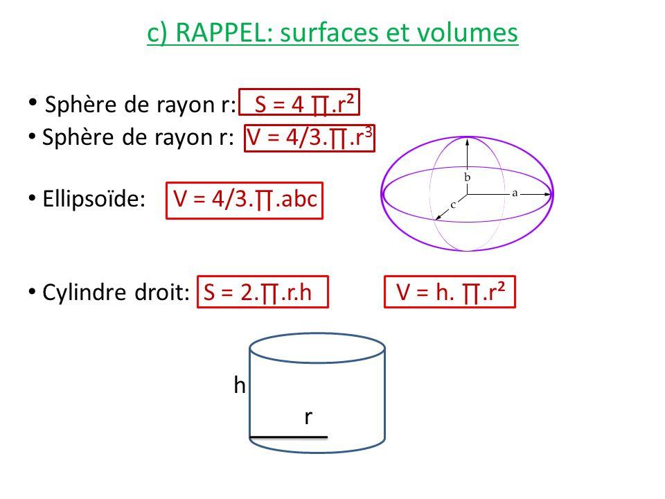 c) RAPPEL: surfaces et volumes