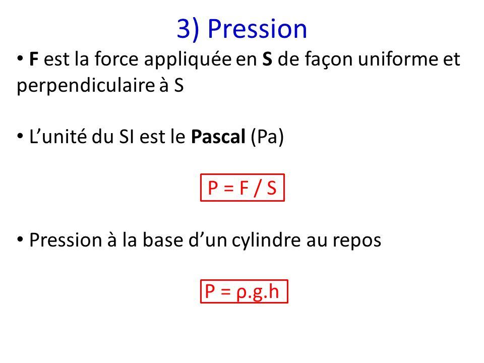 3) Pression F est la force appliquée en S de façon uniforme et perpendiculaire à S. L'unité du SI est le Pascal (Pa)