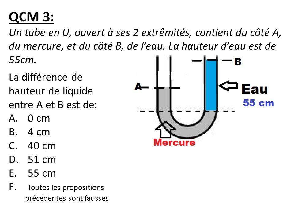 QCM 3: Un tube en U, ouvert à ses 2 extrêmités, contient du côté A, du mercure, et du côté B, de l'eau. La hauteur d'eau est de 55cm.